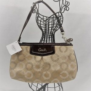 NWT RARE, Ashley Dotted Sateen Coach Wristlet